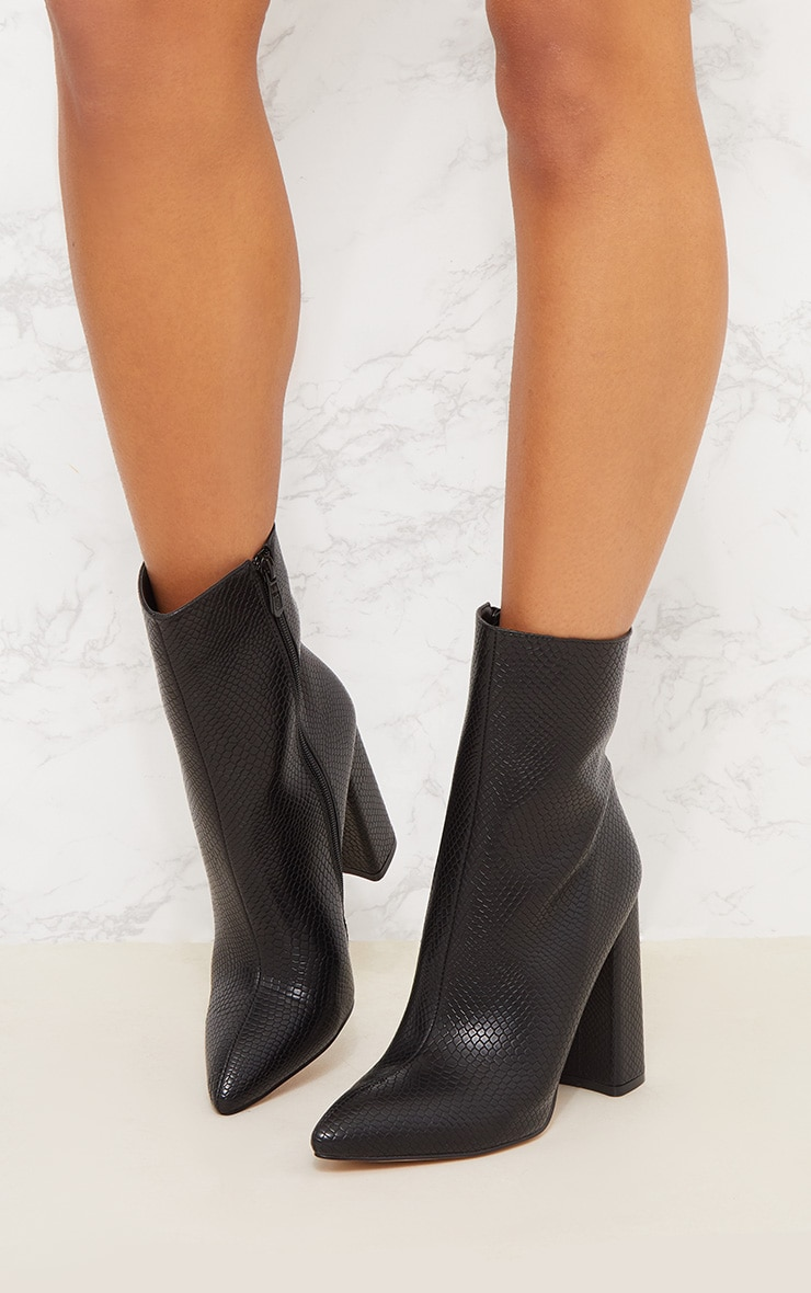 Black High Point Ankle Boot 3