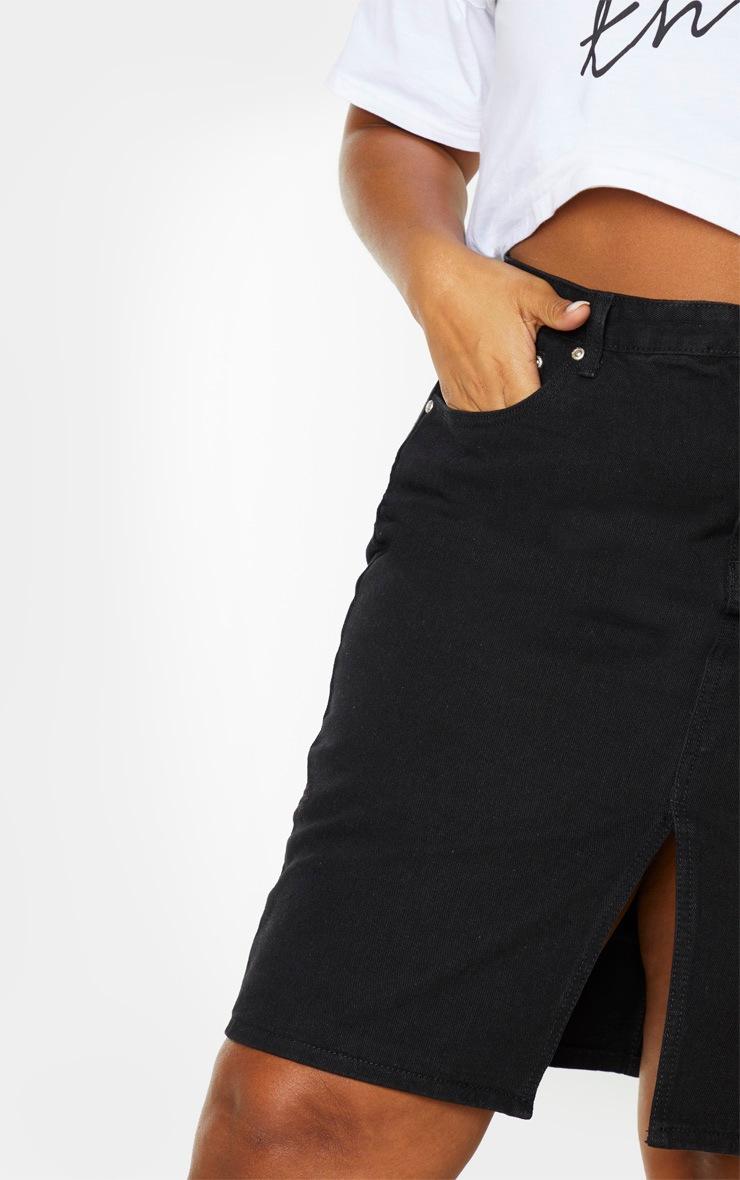 Plus Black Slit Detail Denim Midi Skirt 6