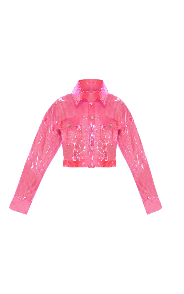 Veste crop transparente rose vif 3