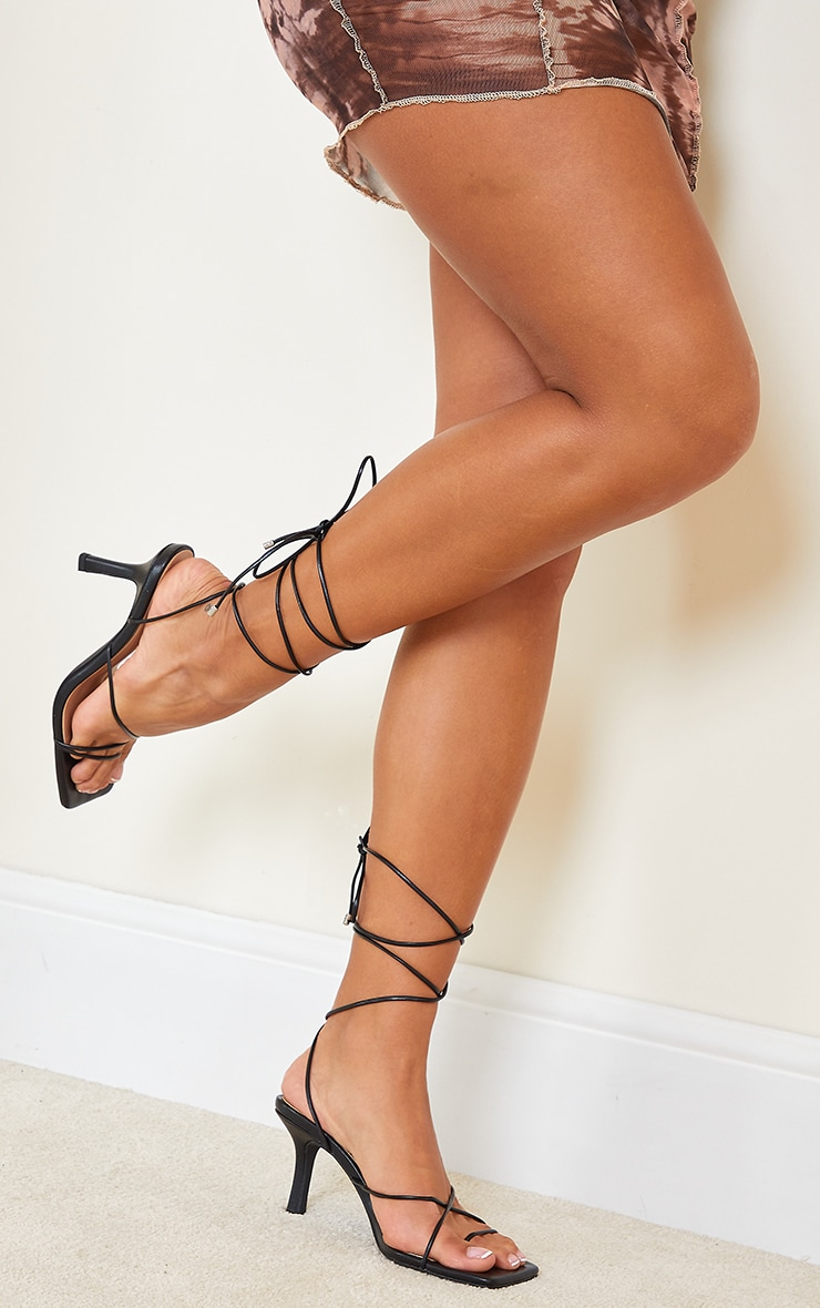 Black Extreme Square Toe Lace Up Heels 1
