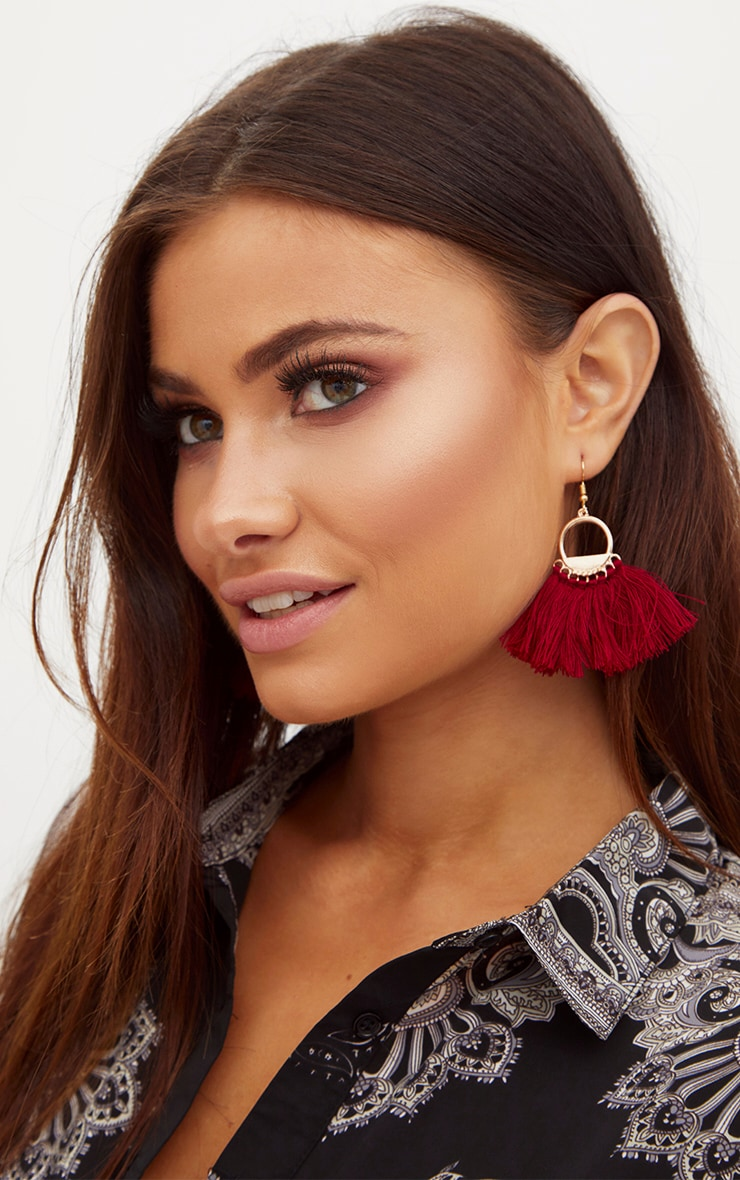 Burgundy Drop Fan Tassel Earrings 2