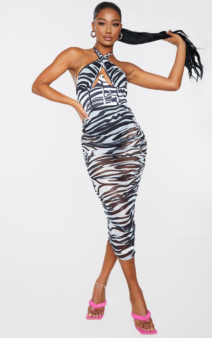 Monochrome Zebra Print Mesh Underbust Corset Detail Midaxi Dress 1