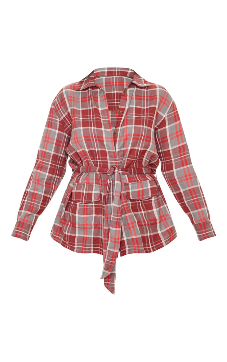 Red Check Belted Oversized Shirt 3