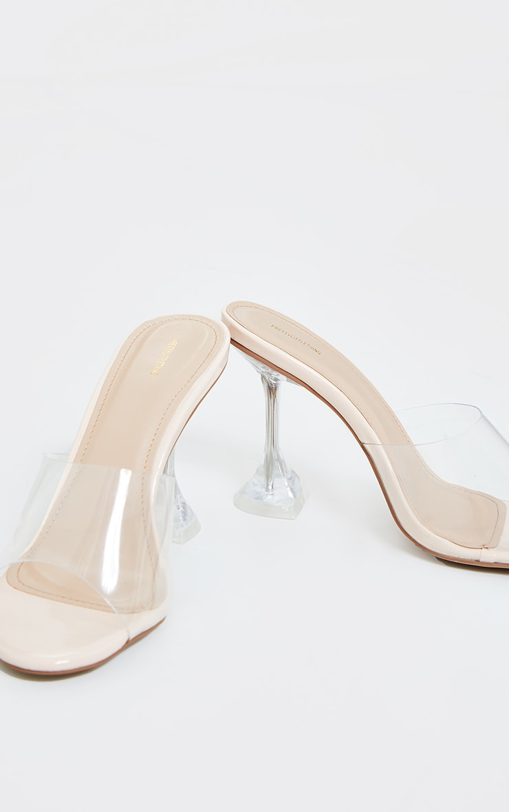 Clear Wide Fit Cake Stand Mule Heels 4