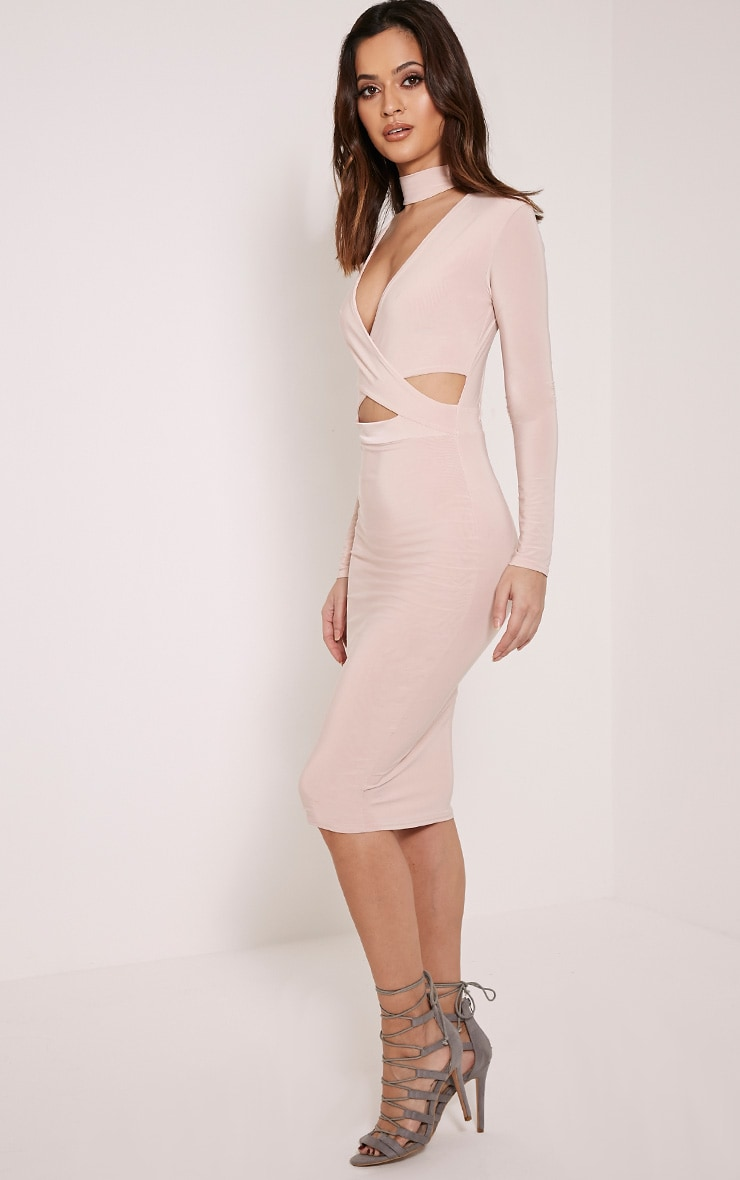 Nadeena Nude Neck Detail Cut Out Midi Dress 4