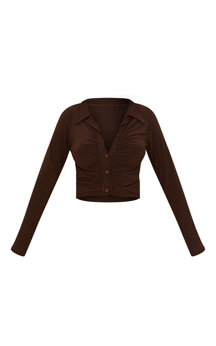 Chocolate Slinky Ruched Front Shirt 5