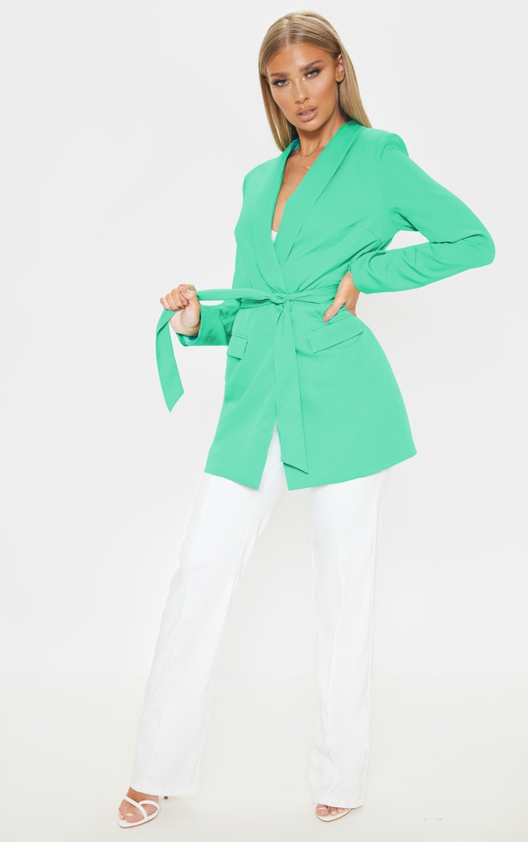 Green Belted Longline Woven Blazer    4