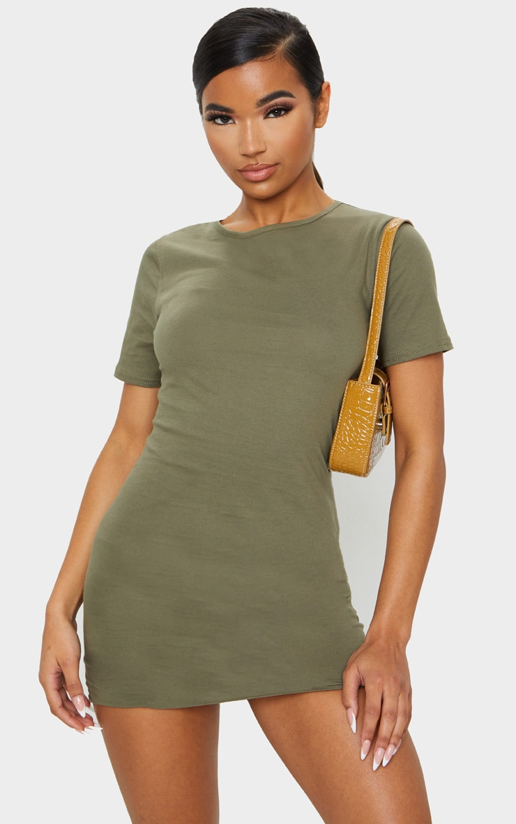 Khaki Short Sleeve Bodycon Dress 1