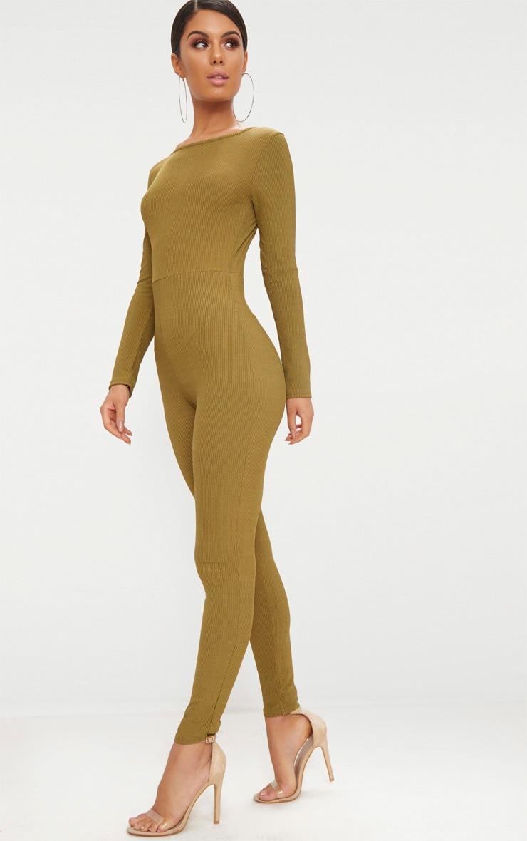 Khaki Ribbed Long Sleeve Scoop Back Jumpsuit 4