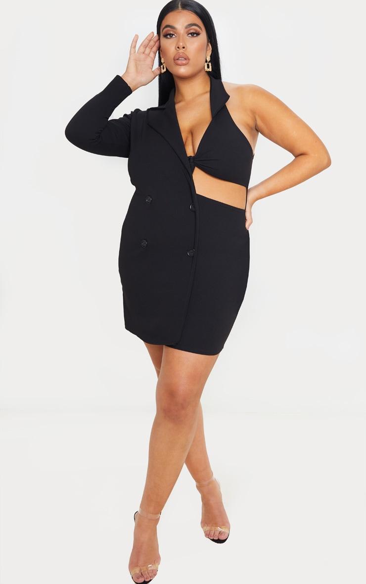 Plus Black One Sleeve Button Detail Blazer Dress 4