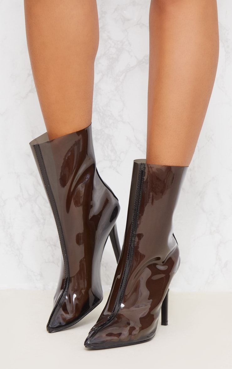 Black Clear Pointed Zip Back Heeled Boot 3