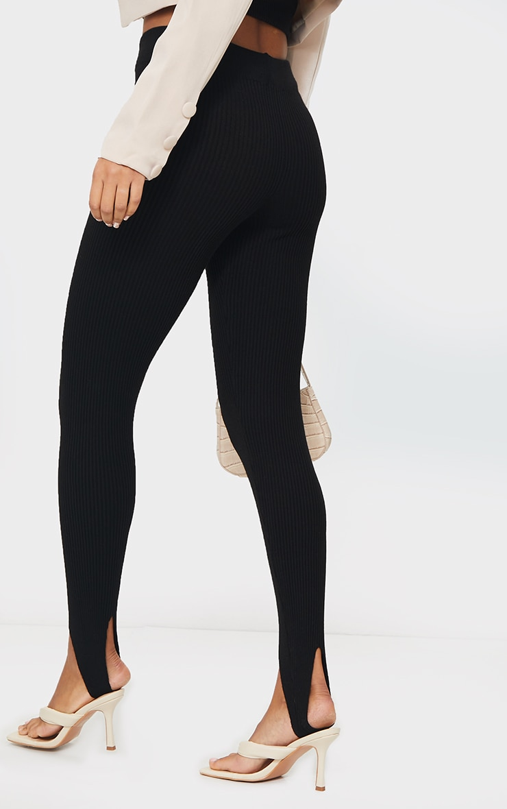 Black Stirrup Ribbed Knitted Leggings 3