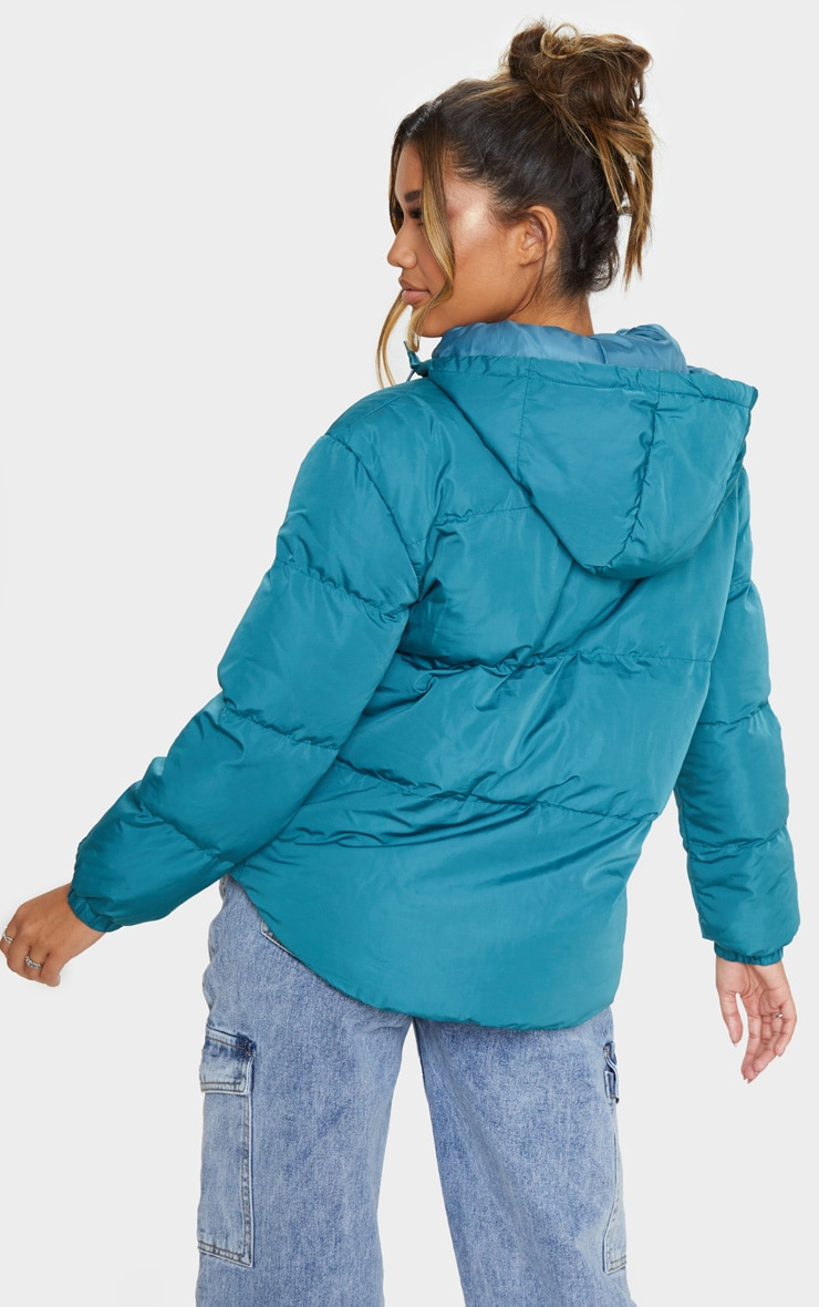 Mineral Blue Puffer Contrast Hooded Jacket 2