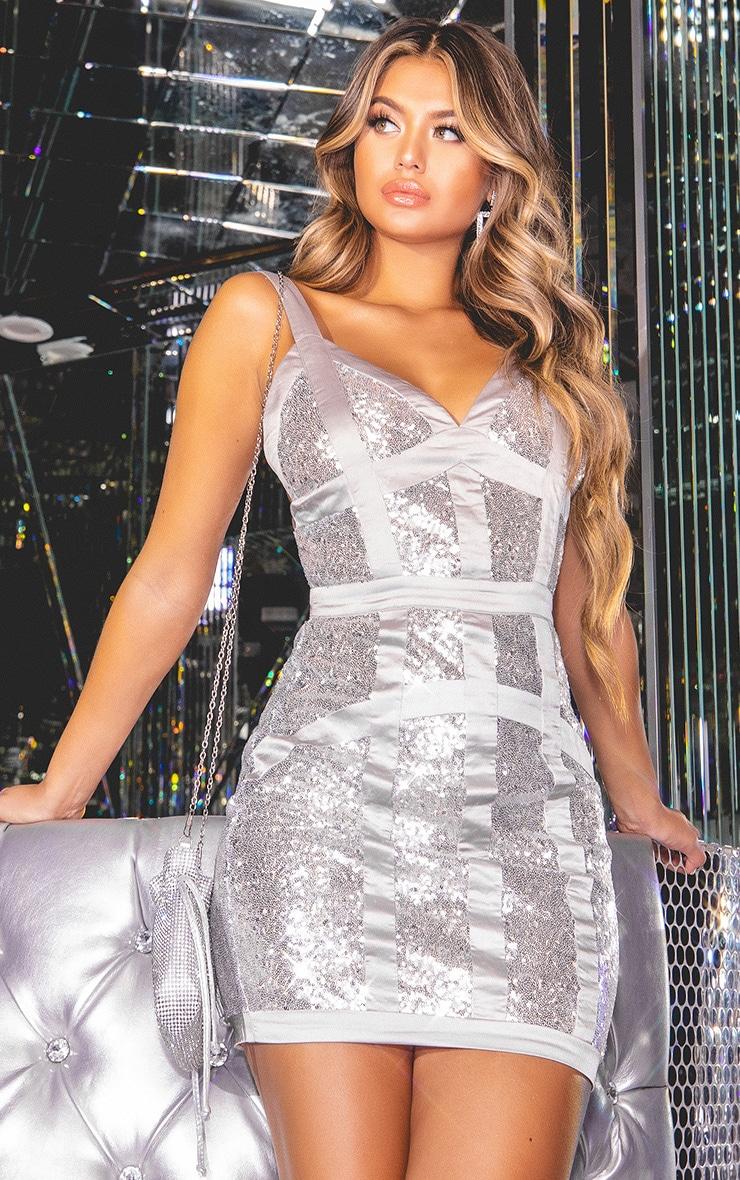 ba1f230d Silver Sequin Satin Trim Bodycon Dress | PrettyLittleThing