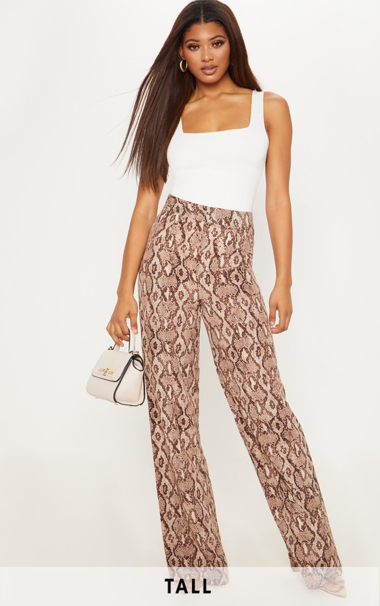 Tall Taupe Snake Print Wide Leg Satin Trousers 1