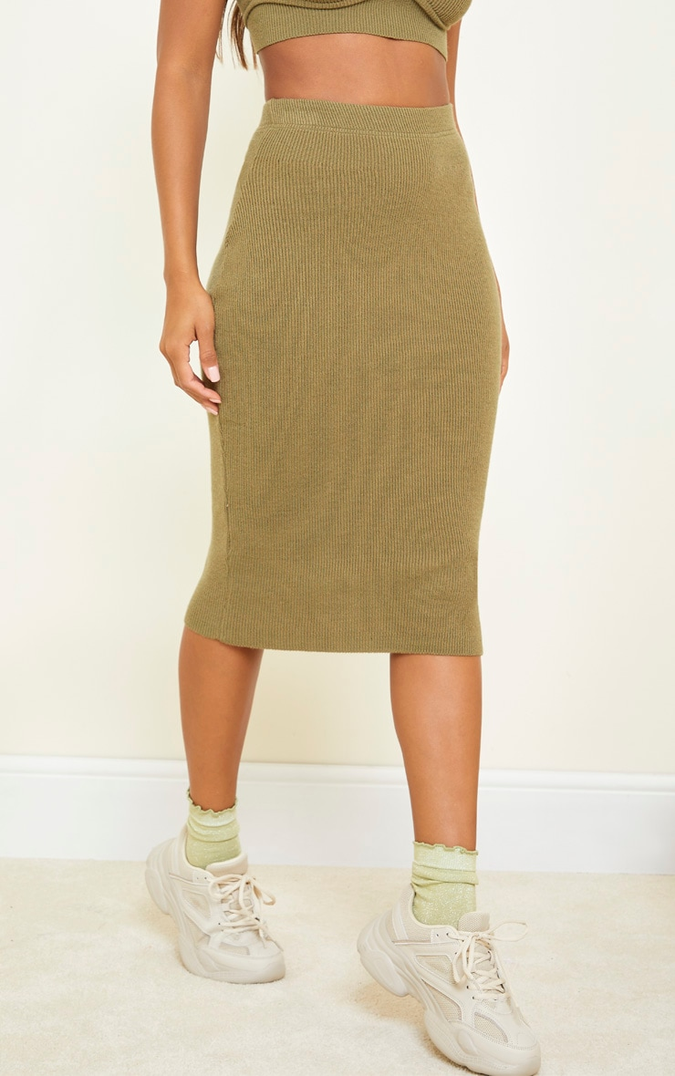Olive All Over Ribbed Knitted Midi Skirt 2