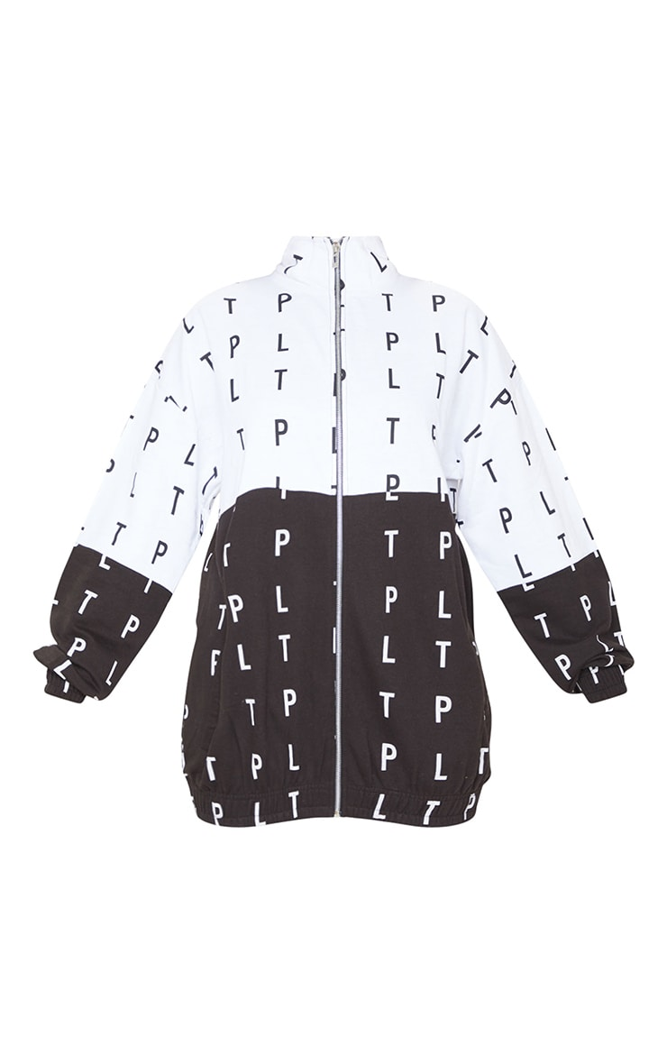 PRETTYLITTLETHING Monochrome Block Contrast Zip Up Jacket 5