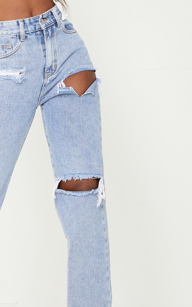 Tall Bleach Wash Distressed Split Hem Jeans 4