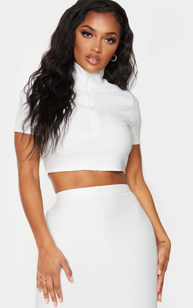Shape Cream Jumbo Rib High Neck Zip Crop Top 1