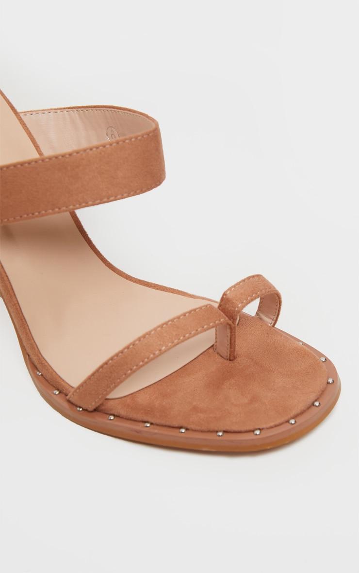 Nude Toe Loop Mule Block Heel Stud Detail Sandal 5