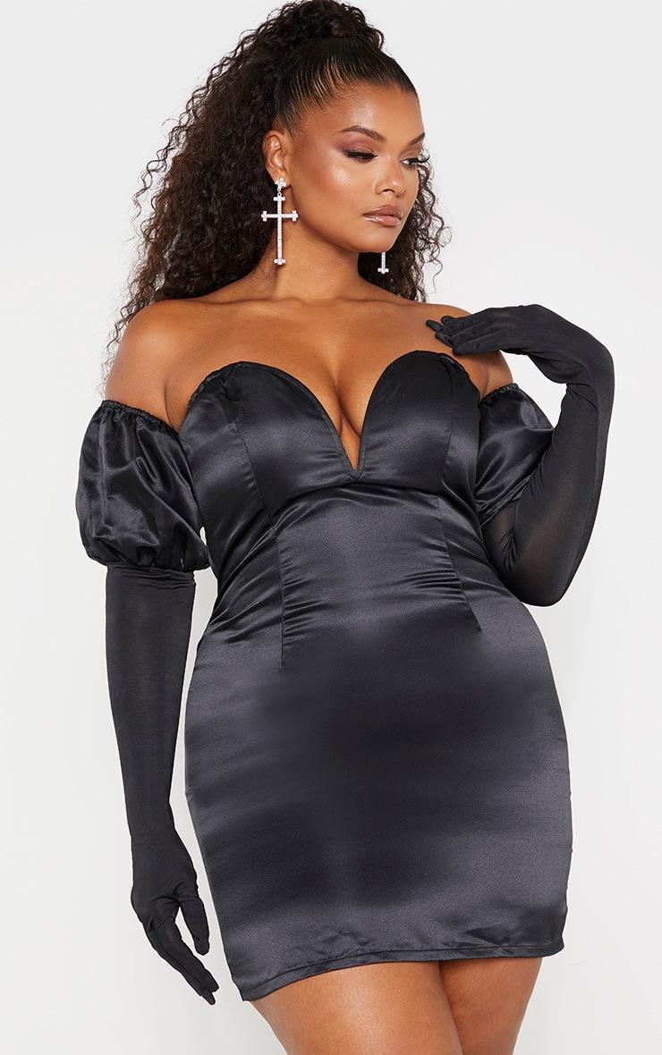 Plus Black Satin V Bar Bardot Glove Detail Bodycon Dress 4