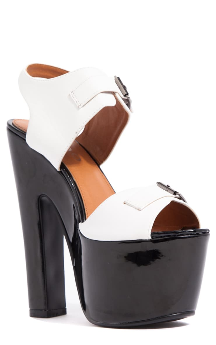 Nina White Buckle Sandals With Black Heel  3