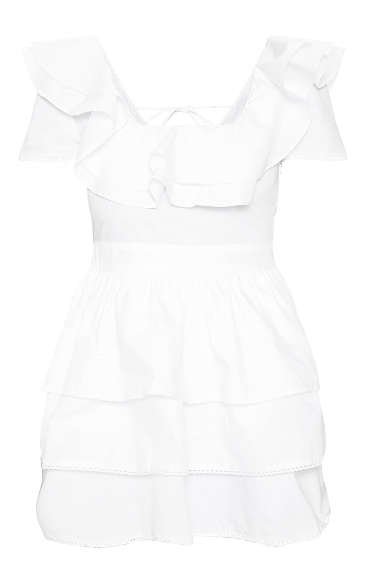 Petite White Square Neck Tiered Frill Dress 3