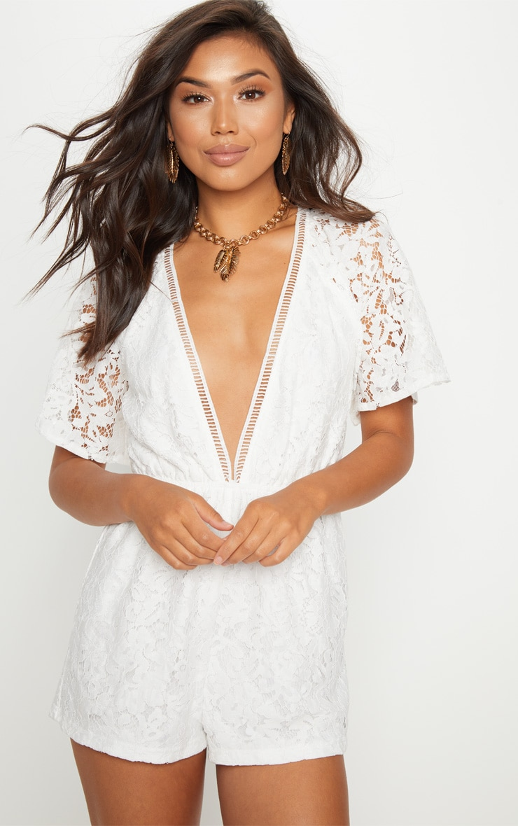 White Lace Flared Sleeve Playsuit