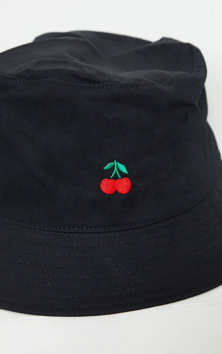 Black Embroidered Cherry Bucket Hat 3