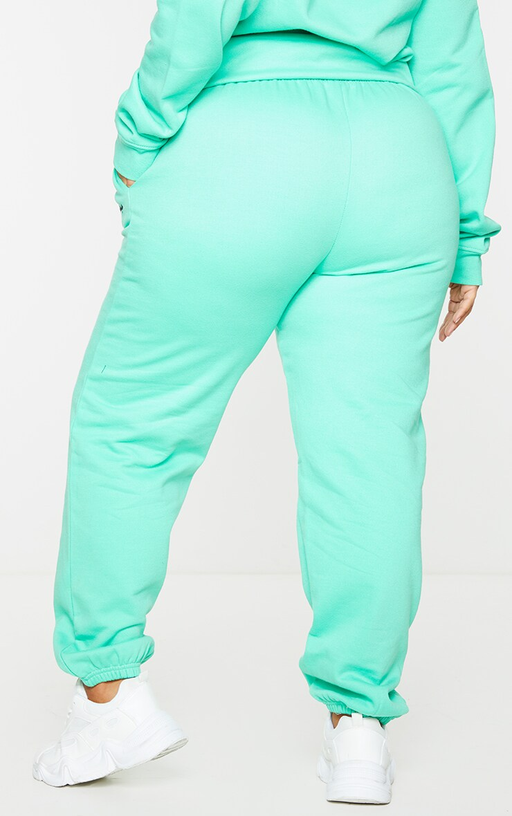 PRETTYLITTLETHING Plus Mint Green Embroidered Joggers 3