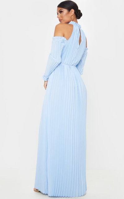 Dusty Blue Pleated Cold Shoulder Maxi Dress