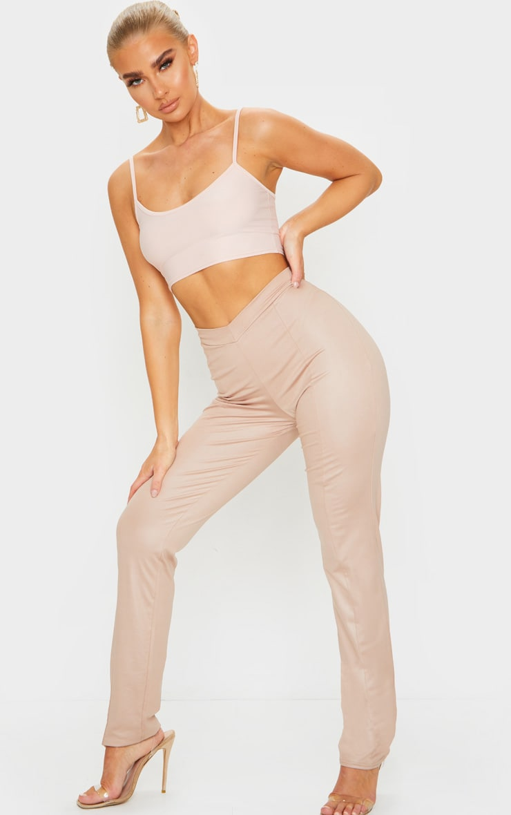 Nude Dipped Waist Wet Look Straight Leg Trousers 2
