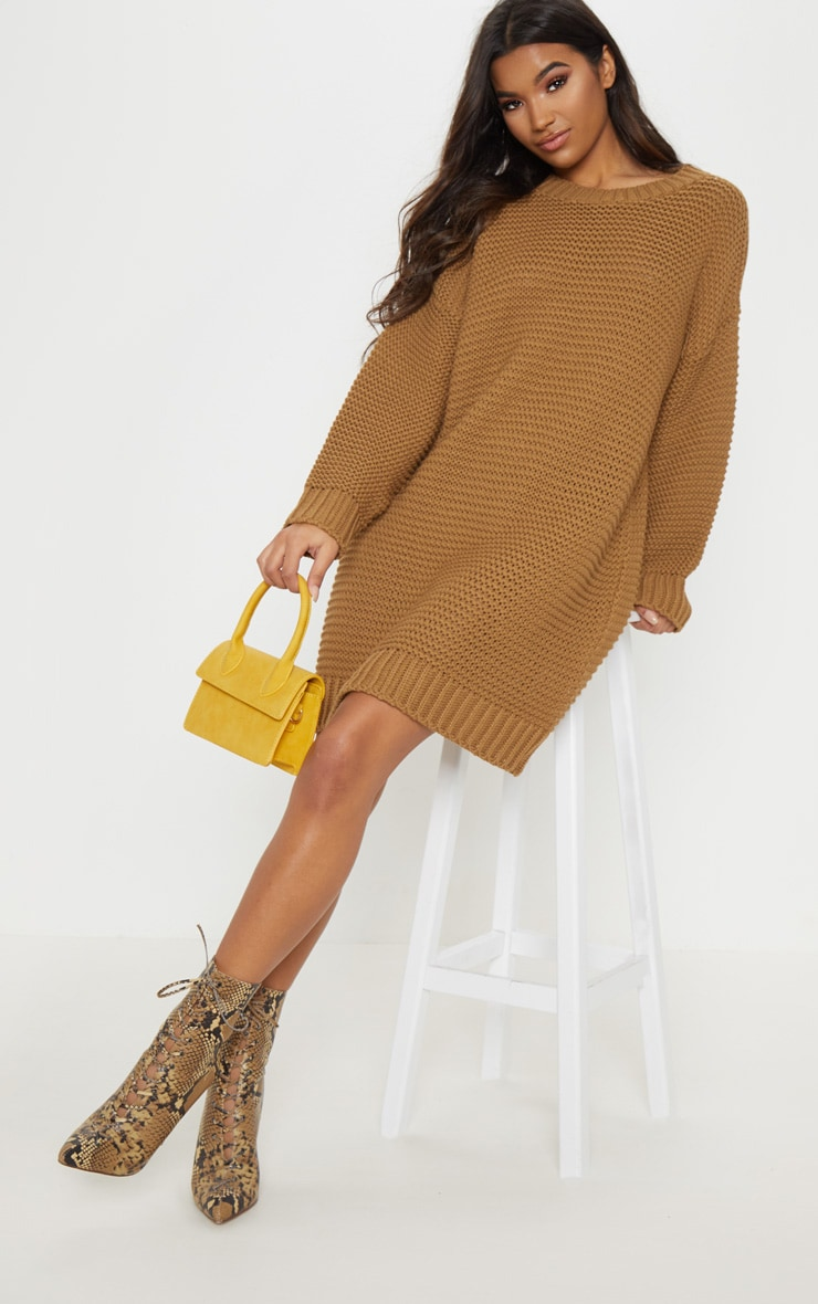 c3b7482565b71 Camel Chunky Knitted Jumper Dress image 1