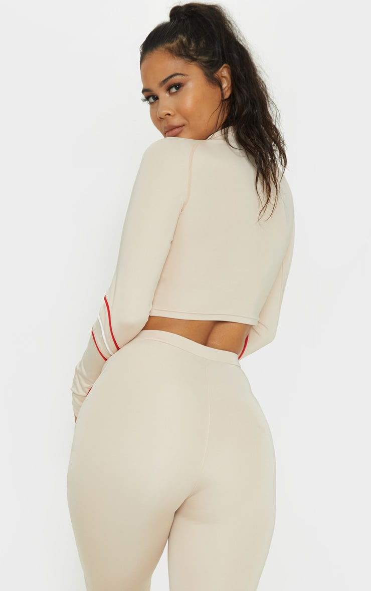 Stone Zip Up Long Sleeve Crop Top  2