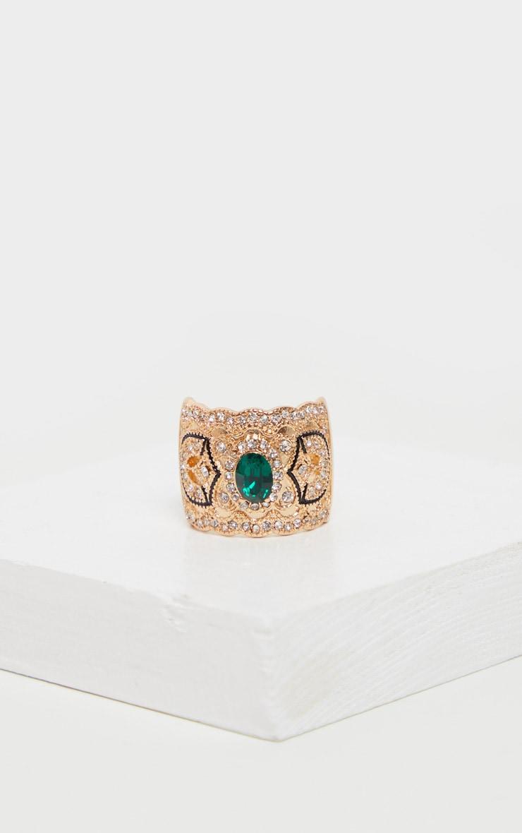 Green Gemstone Renaissance Chunky Ring 3