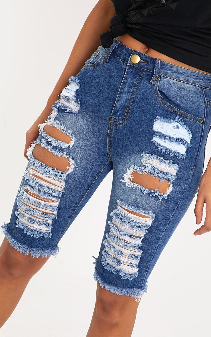Keena Mid Wash Super Distress  Skinny Fit Long Short 6