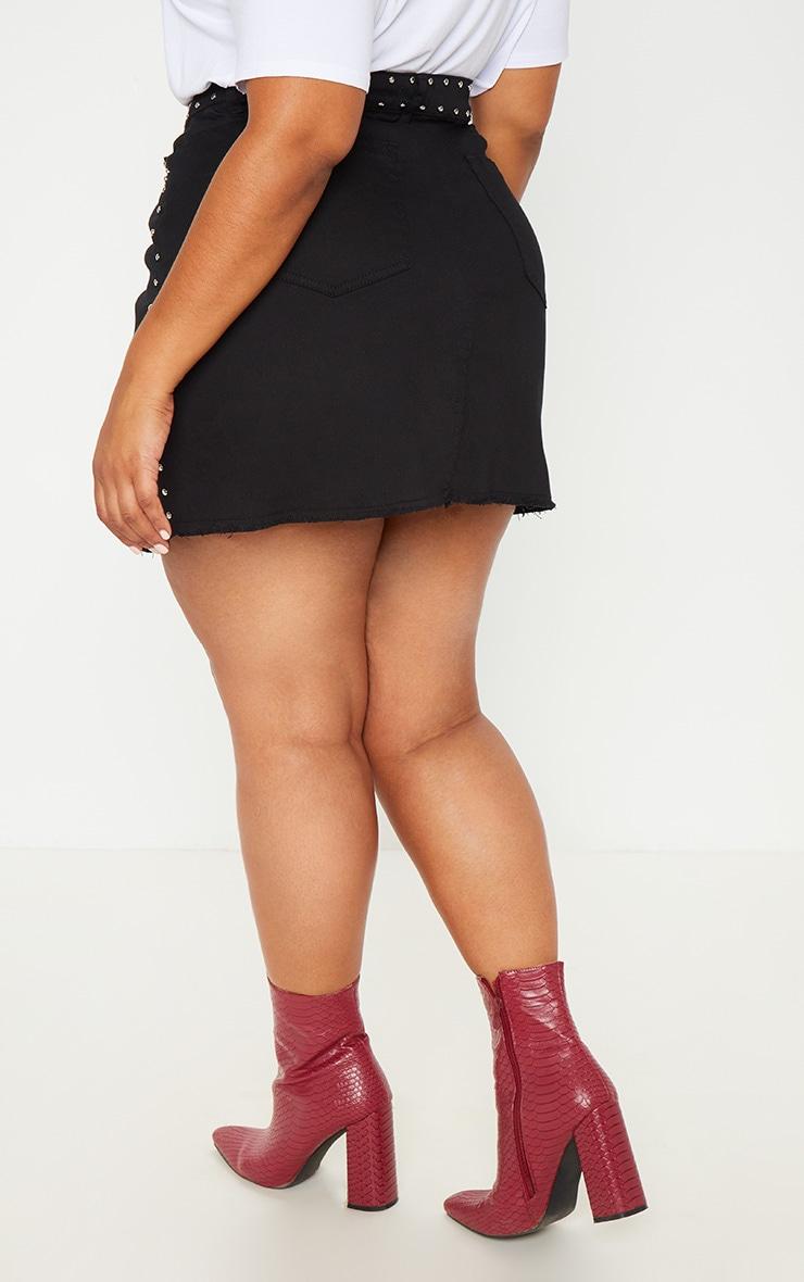 Plus Black Studded Raw Hem Demin Skirt 4