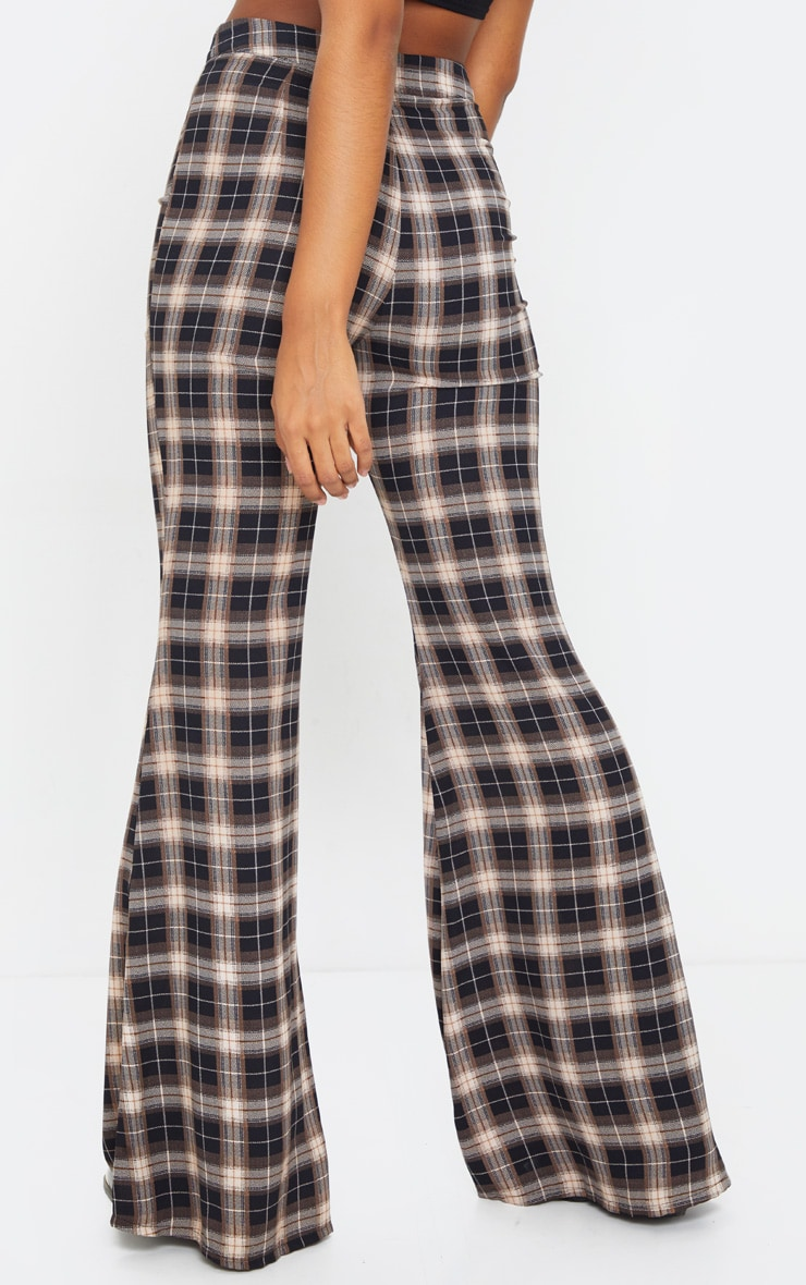 Black Check Print Tailored Extreme Flared Pants 3