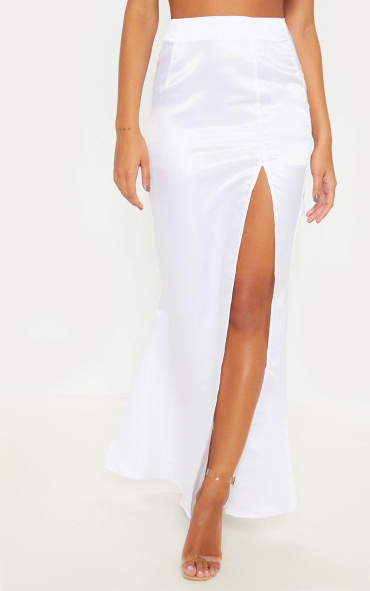 White Woven Split Front Maxi Skirt 2