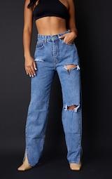 Petite Mid Blue Wash Ripped Split Hem Jeans 2