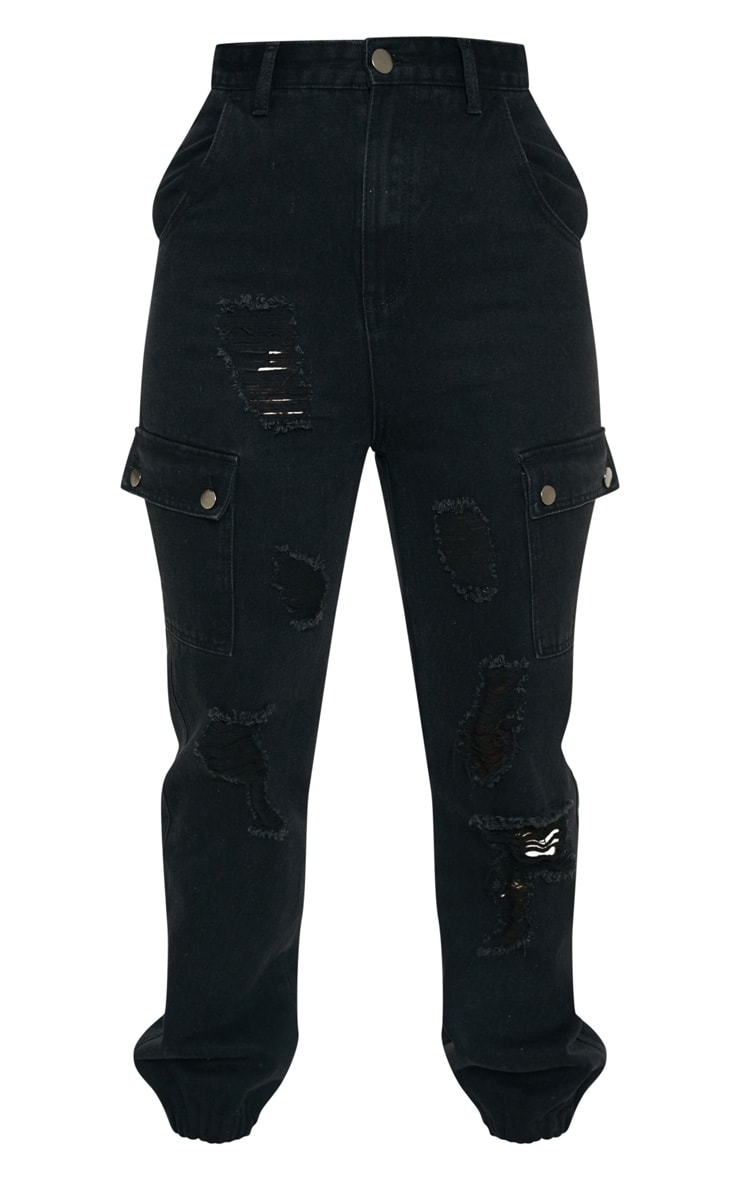 Black Distressed Cargo Pocket Jeans 3