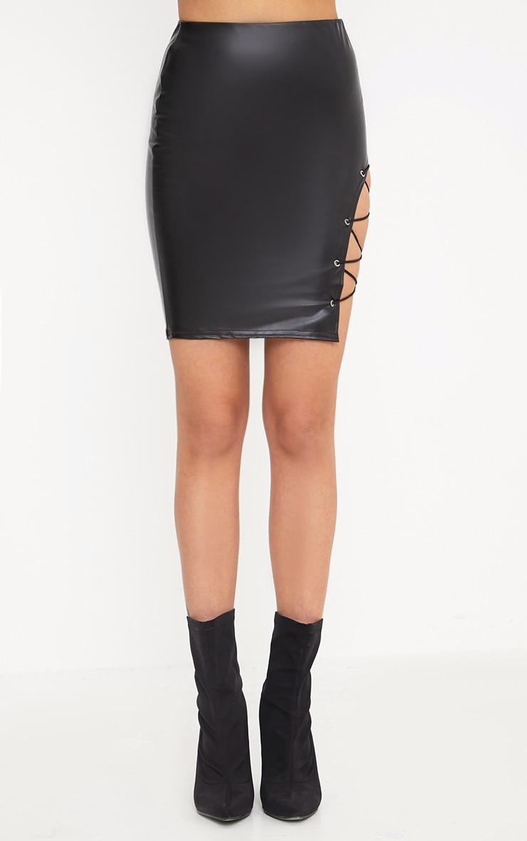 Sazia Black Faux Leather Side Lace Up Mini Skirt 2