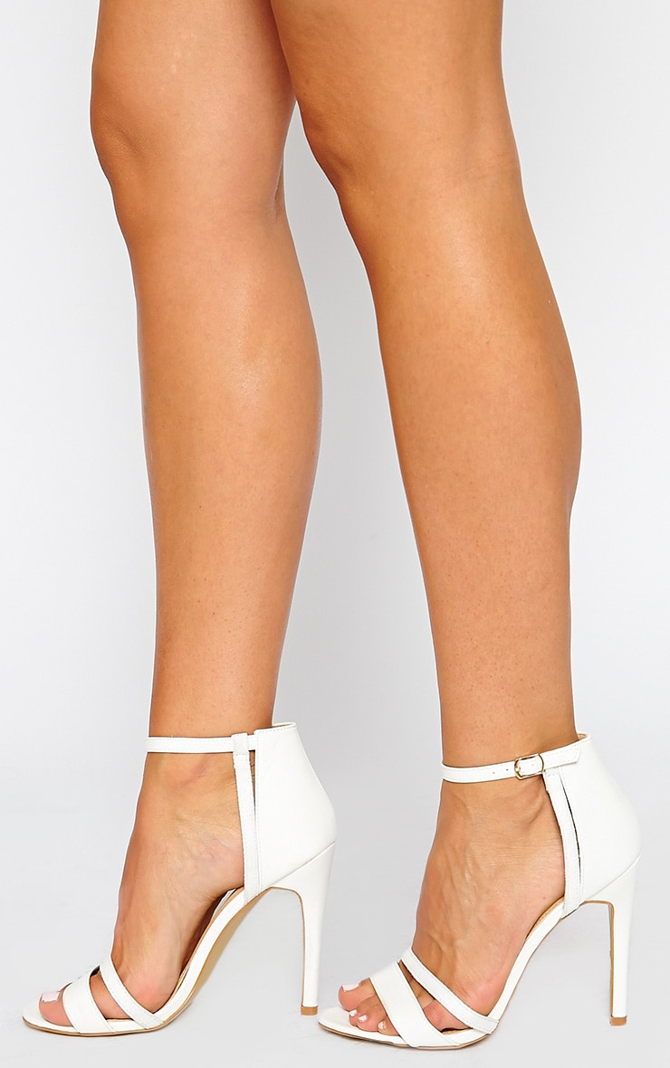 Cassia White Strap Heeled Sandals 2