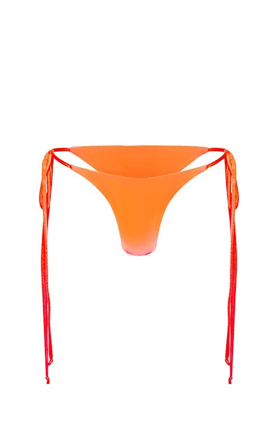 Neon Coral Tie Side Thong Bikini Bottom 4