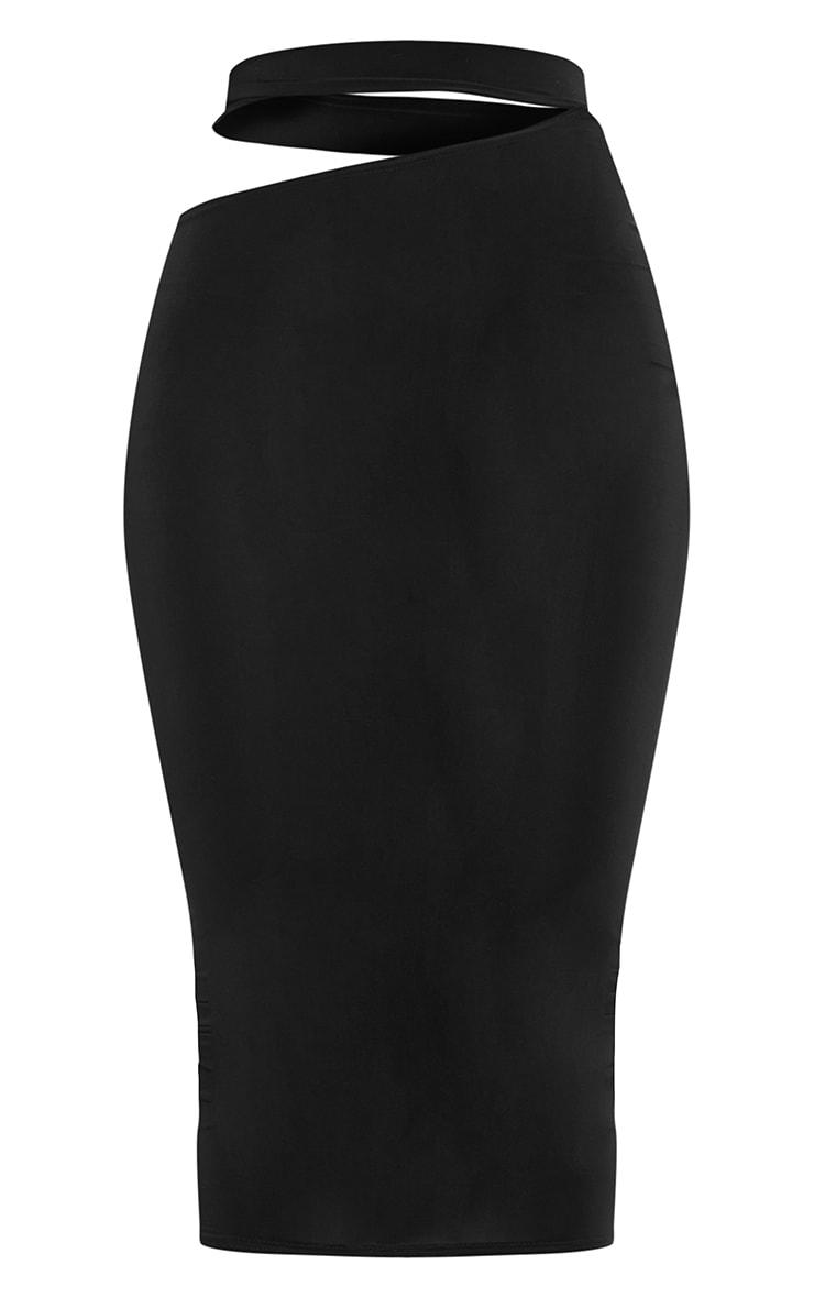 Black Slinky Cut Out Waist Detail Midi Skirt 5