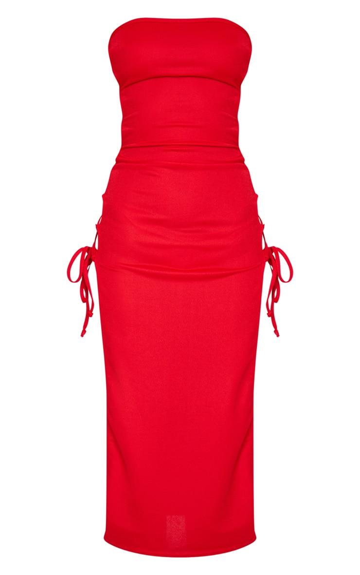 Robe bandeau longue rouge fendue à laçage  5