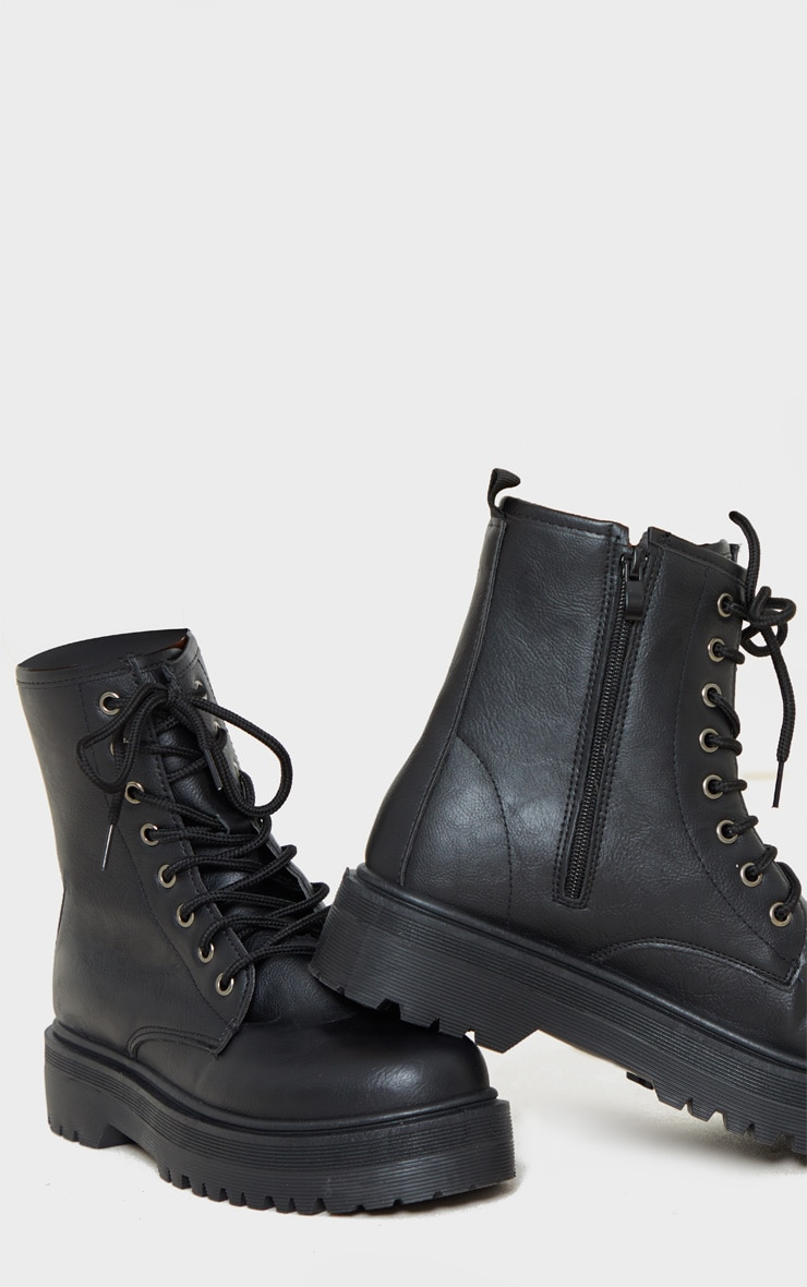 Black Lace Up Chunky Ankle Boot 4
