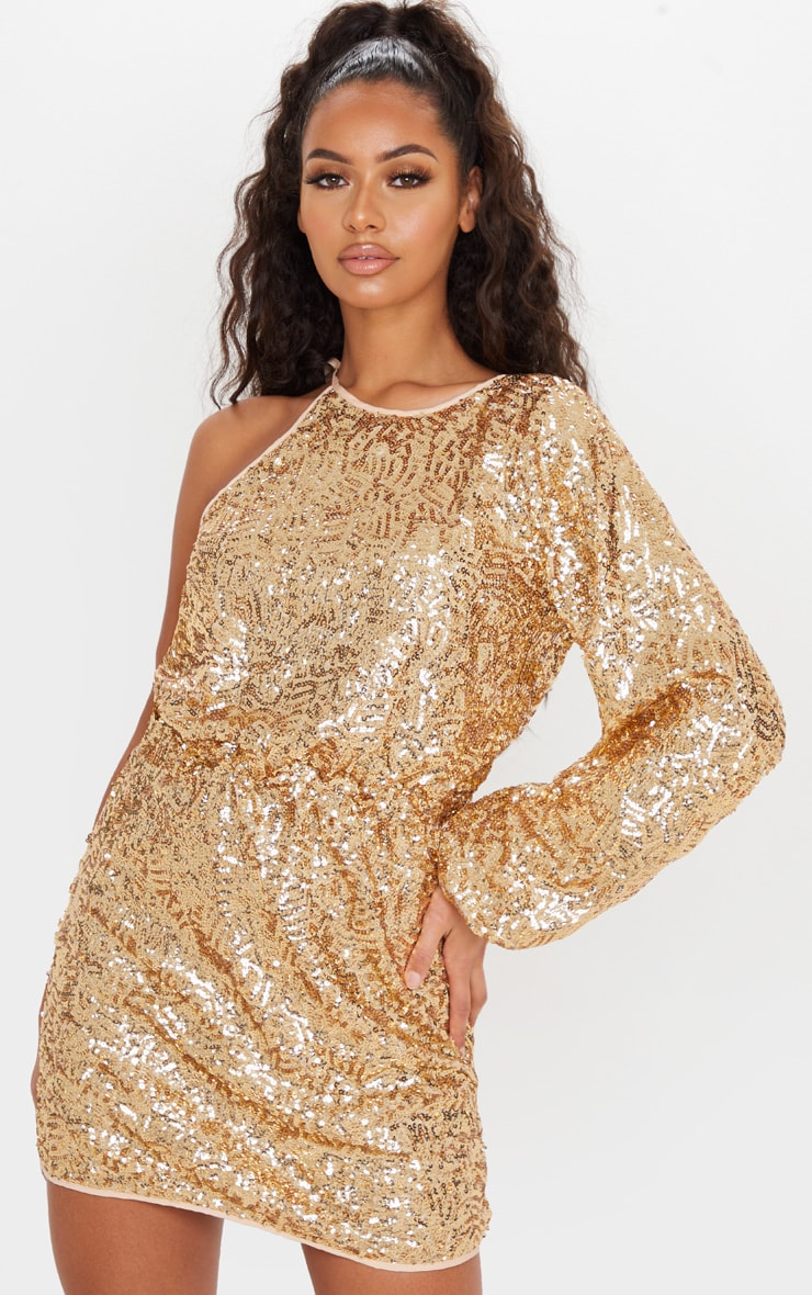 Gold Sequin One Shoulder Balloon Sleeve Shift Dress 1
