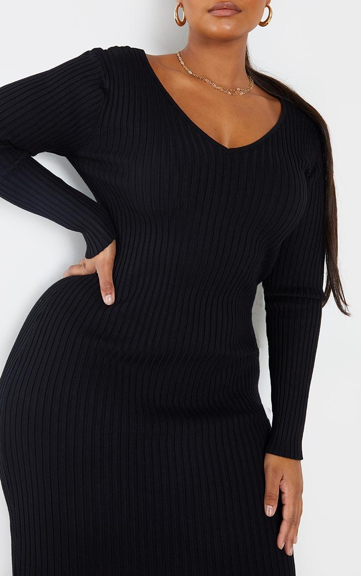 Plus Black Off Shoulder Rib Knitted Midaxi Dress 4
