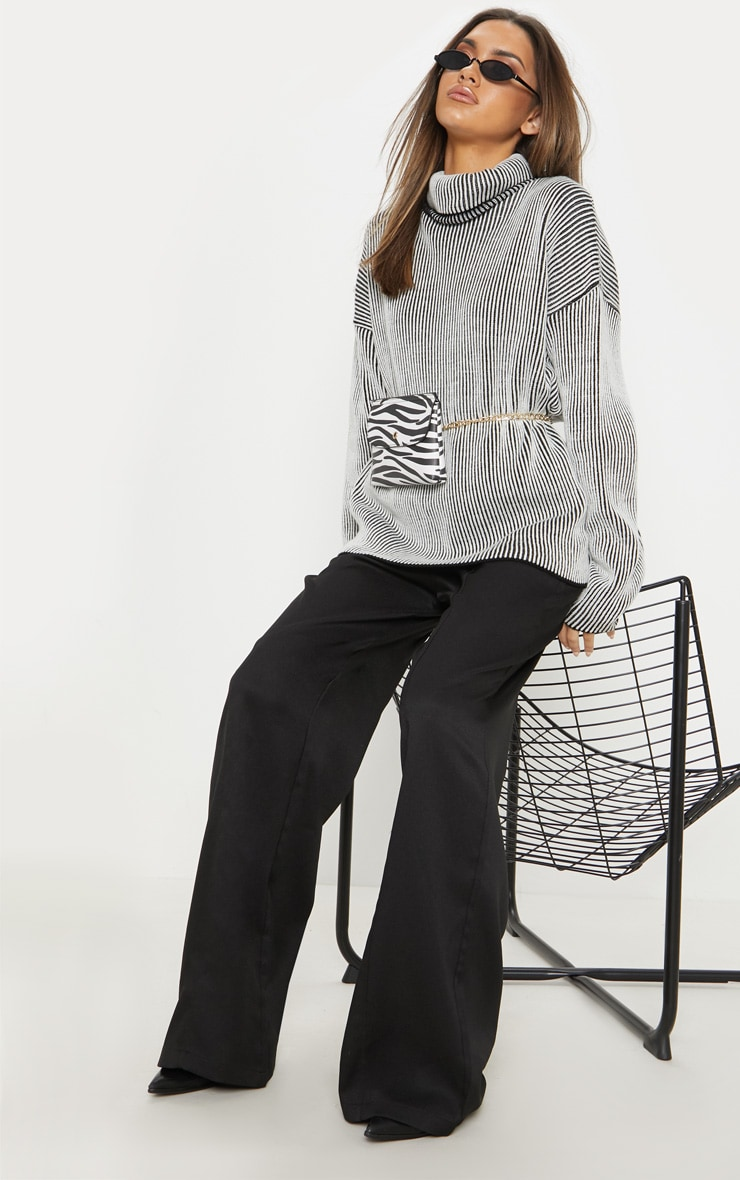 Cream Two Tone Knitted Oversized Jumper  1